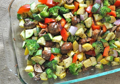 Baked Zucchini, Broccoli, Pepper and Mushrooms