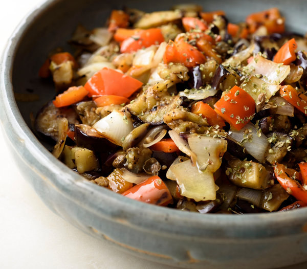 Grilled Eggplant, Peppers, and Onions.